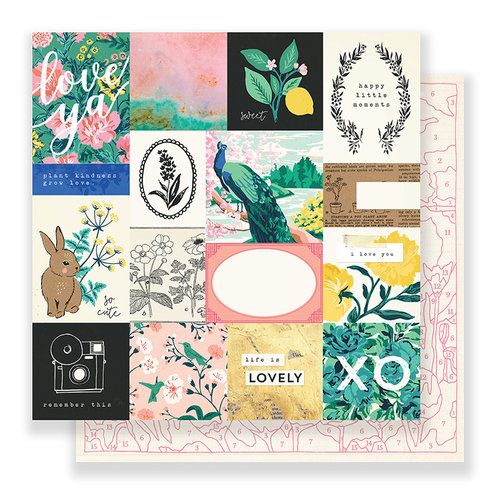 Crate Paper - Flourish Collection - 12 x 12 Double Sided Paper - Memorable
