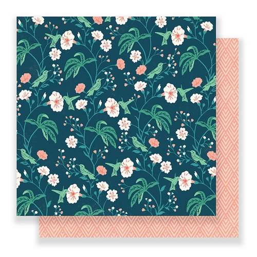 Crate Paper - Flourish Collection - 12 x 12 Double Sided Paper - Hummingbird