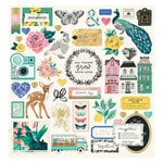 Crate Paper - Flourish Collection - Chipboard Stickers with Foil Accents
