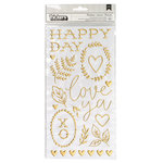 Crate Paper - Flourish Collection - Thickers - Puffy - Gold - Recollection