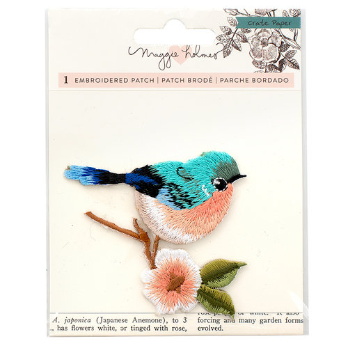 Crate Paper - Flourish Collection - Embroidered Patch - Bird