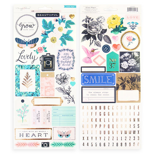 Exclusive Crate Paper - Flourish Collection - Cardstock Stickers with Gold Foil