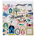 Crate Paper - Willow Lane Collection - 12 x 12 Chipboard Stickers with Foil Accents