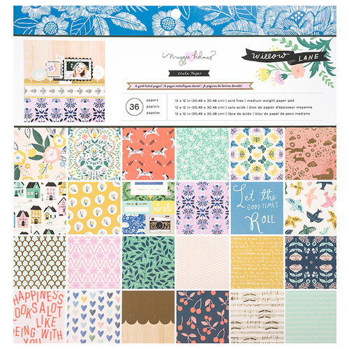 Crate Paper - Willow Lane Collection - 12 x 12 Paper Pad with Foil Accents