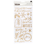 Crate Paper - Merry Days Collection - Christmas - Thickers - Puffy - Gold - Phrase and Accents - Joyous