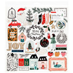 Crate Paper - Merry Days Collection - Christmas - 12 x 12 Chipboard Stickers with Foil Accents