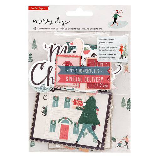 Crate Paper - Merry Days Collection - Christmas - Ephemera Pack with Glitter Accents