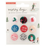 Crate Paper - Merry Days Collection - Christmas - Adhesive Fabric Buttons