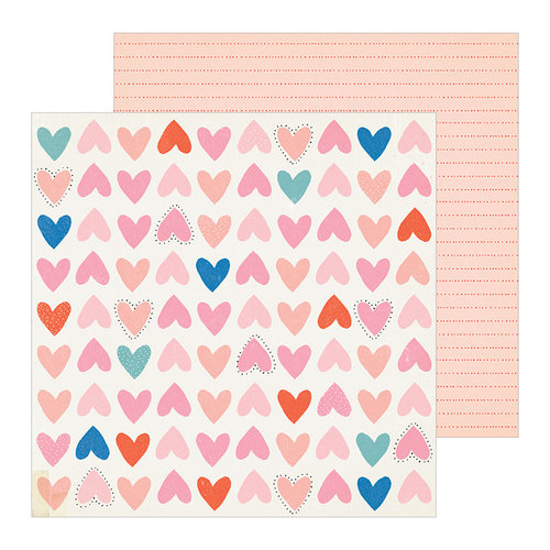 Crate Paper - La La Love Collection - 12 x 12 Double Sided Paper - Be Mine