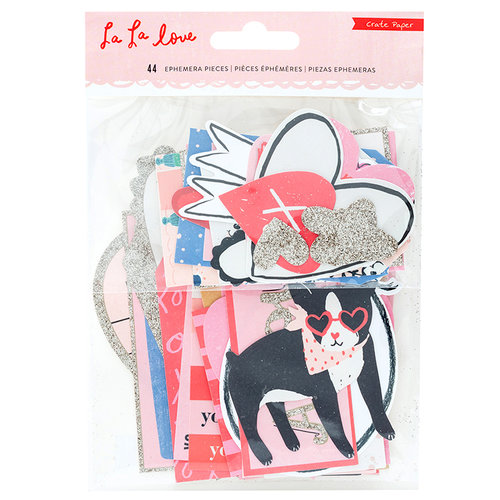 Crate Paper - La La Love Collection - Ephemera with Glitter Accents