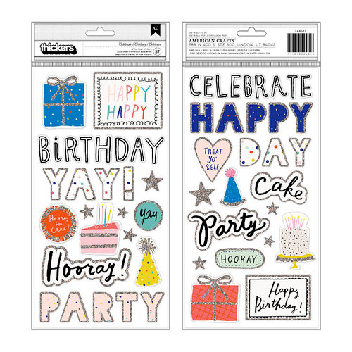 Crate Paper - Hooray Collection - Thickers - Printed Foam - Glitter - Celebrate