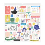 Crate Paper - Hooray Collection - 12 x 12 Chipboard Stickers with Sequin Accents
