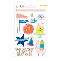 Crate Paper - Hooray Collection - 3 Dimensional Stickers with Glitter and Pom Pom Accents