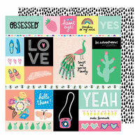 American Crafts - Sunshine and Good Times Collection - 12 x 12 Double Sided Paper - Officially Obsessed