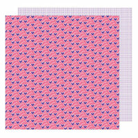 American Crafts - Sunshine and Good Times Collection - 12 x 12 Double Sided Paper - Major Heart Eyes