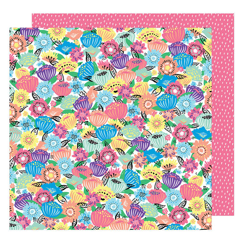 American Crafts - Sunshine and Good Times Collection - 12 x 12 Double Sided Paper - Flower Power