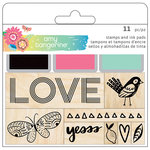 American Crafts - Sunshine and Good Times Collection - Wood Stamp Pad Set