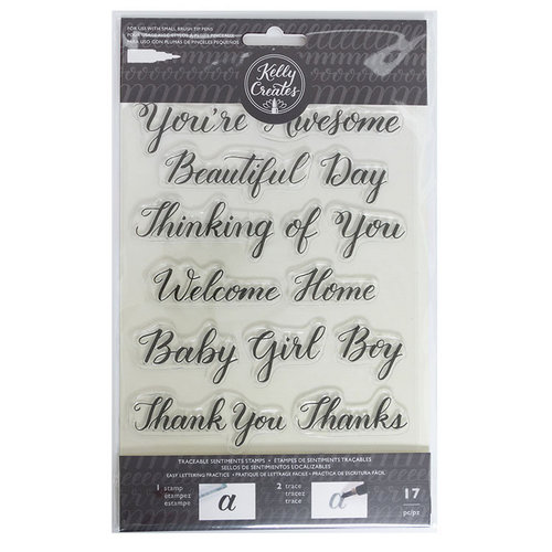 Kelly Creates - Clear Acrylic Stamps - Traceable - Sentiment