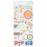 American Crafts - Stay Colorful Collection - Cardstock Stickers with Foil Accents