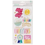 American Crafts - Stay Colorful Collection - Thickers - Printed Chipboard - AC - Phrase - Gold Foil - Groovy