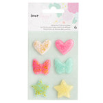 American Crafts - Stay Colorful Collection - Glitter Resin Shapes