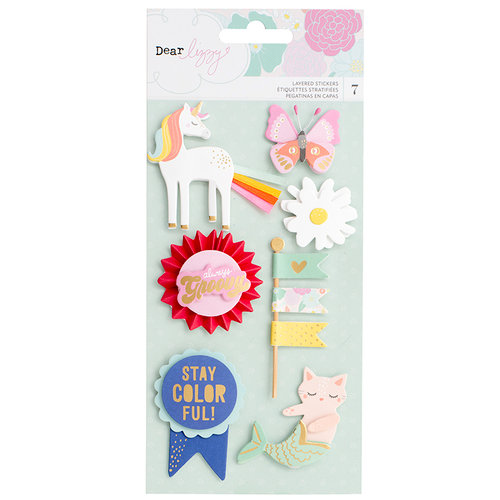 American Crafts - Stay Colorful Collection - Layered Stickers with Foil Accents - Icons
