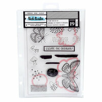 American Crafts - Field Notes Collection - Dies and Clear Acrylic Stamps - Escape