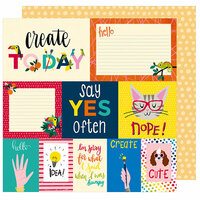 American Crafts - Box of Crayons Collection - 12 x 12 Double Sided Paper - Say Yes Often