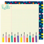 American Crafts - Box of Crayons Collection - 12 x 12 Double Sided Paper - Writer's Block
