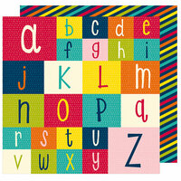 American Crafts - Box of Crayons Collection - 12 x 12 Double Sided Paper - Spell it Out