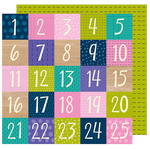 American Crafts - Box of Crayons Collection - 12 x 12 Double Sided Paper - Countdown