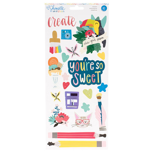 American Crafts - Box of Crayons Collection - Cardstock Stickers