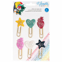 American Crafts - Box of Crayons Collection - Icon Paper Clips with Glitter Accents