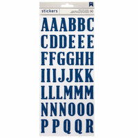American Crafts - Thickers - Glitter - Alphabet - Blue