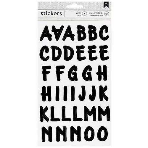 American Crafts - Stickers - Alphabet - Brush - Black