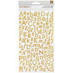 American Crafts - Glitter Stickers - Alphabet - Gold