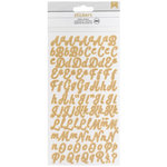 American Crafts - Glitter Stickers - Alphabet - Script - Small - Gold