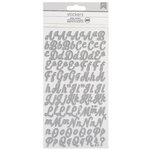 American Crafts - Glitter Stickers - Alphabet - Script - Small - Silver
