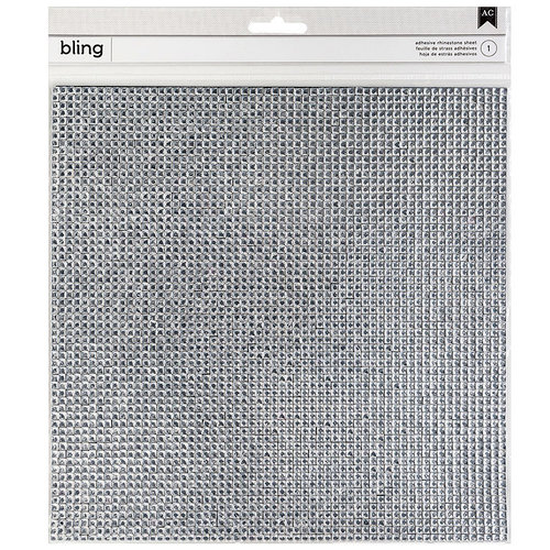 American Crafts - Bling Stickers - Rhinestones - Square - Silver - 10 x 10