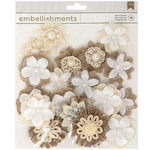 American Crafts - Fabric and Paper Flowers - Natural