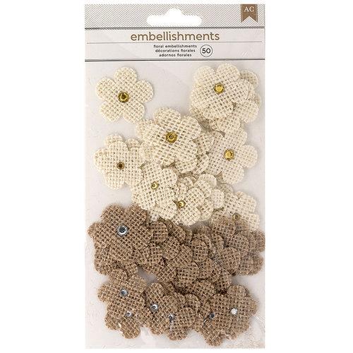 American Crafts - Burlap Flowers - 50 Pieces