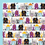 American Crafts - Halloween Collection - 12 x 12 Double Sided Paper - Haunted, CLEARANCE