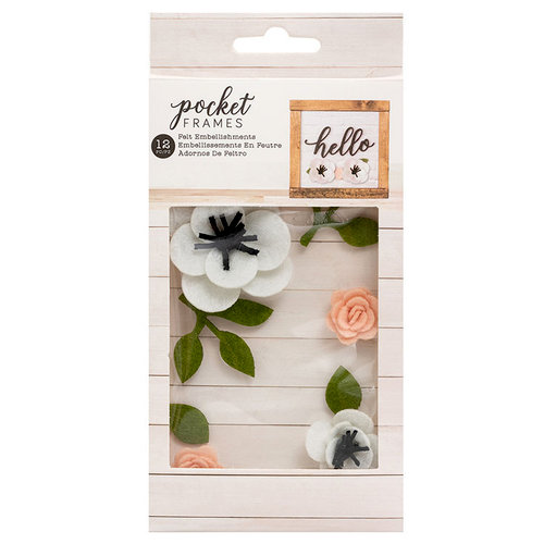American Crafts - Details 2 Enjoy Collection - Pocket Frames - Felt Flowers - Style 2