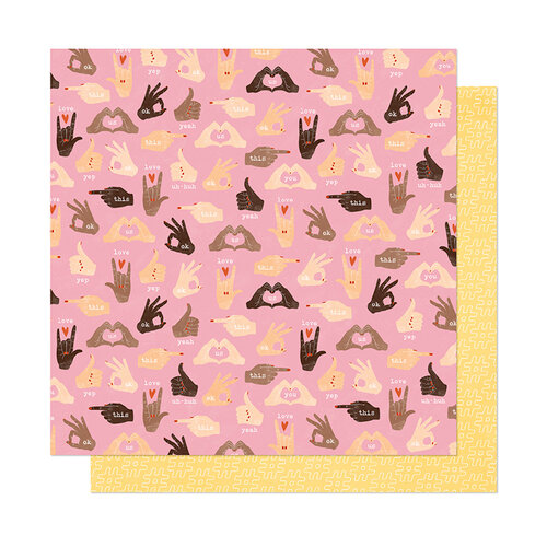 American Crafts - It's All Good Collection - 12 x 12 Double Sided Paper - Thumbs Up