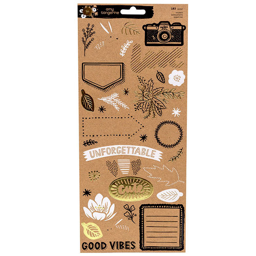 American Crafts - Shine On Collection - Cardstock Stickers - Gold Foil