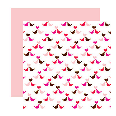 American Crafts - I Heart You Collection - 12 x 12 Double Sided Paper with Glitter Accents - Snuggle Bear, CLEARANCE
