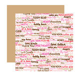 American Crafts - I Heart You Collection - 12 x 12 Double Sided Paper with Glitter Accents - Bubushka, CLEARANCE