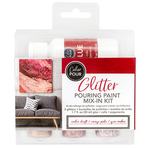 American Crafts - Color Pour Collection - Glitter Pouring Paint Mix-In Kit - Amber Drift