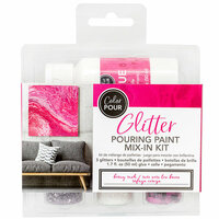 American Crafts - Color Pour Collection - Glitter Pouring Paint Mix-In Kit - Berry Rush