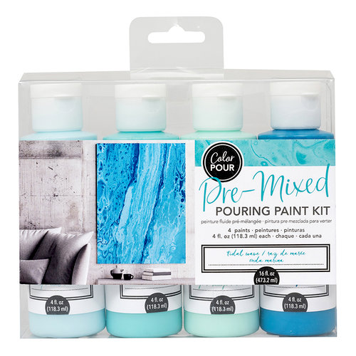 American Crafts - Color Pour Collection - Pre-Mixed Pouring Paint Kit - Tidal Wave
